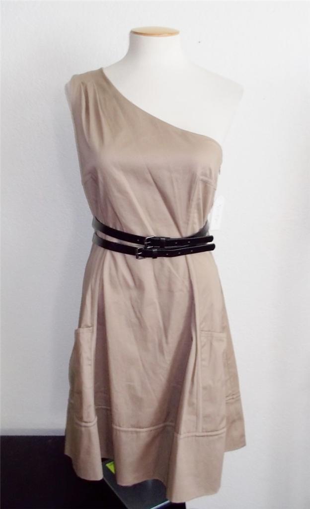 JESSICA SIMPSON MS Größe 12 DUNE BEIGE ONE SHOULDER PRINTED FASHION DRESS