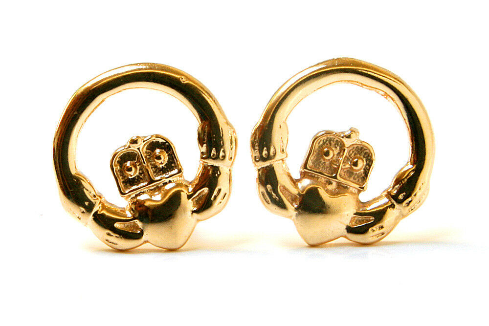 9ct gold Claddagh Stud Earrings Gift Boxed Studs Made in UK Birthday Gift