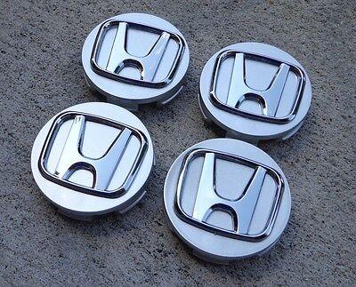 "Honda Center Caps Set 4 Silver 2.25"" 58mm wheel rim cap insert Civic Accord CRV"
