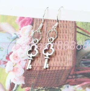 Small-Key-925-Silver-Earrings-Tibetan-Silver-Double-Sided-Charm-Drop-Dangle-Gift
