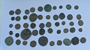 MIXED LOT OF 50 ANCIENT ROMAN AND BYZANTINE BRONZE COINS III-XII Century AD