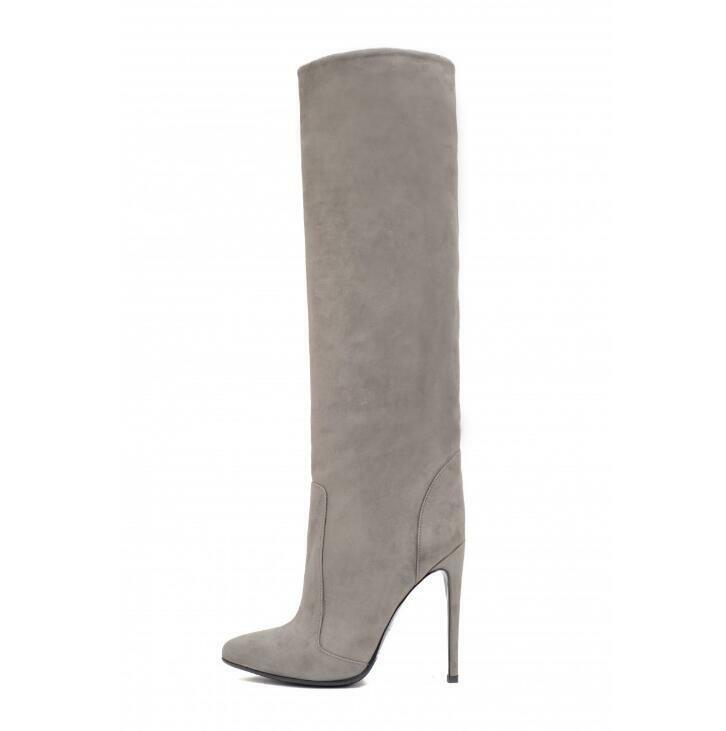 Gran tamaño para mujer Suede Negro PU Recto Puntiagudo hasta la rodilla tacón alto zapatos talla haihk