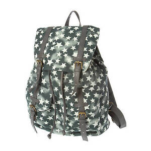 Details about Gray Star Print Backpack School