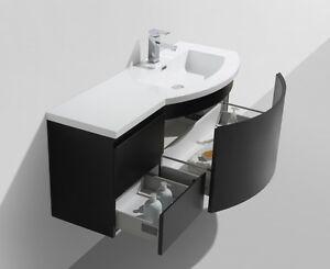 Mobile bagno nero opaco LAURANCE 120/240cm, lussuoso, con lavabo e ...