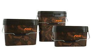 FOX-NEW-Carp-Fishing-Square-Camo-Bait-Bucket-17L-17-Litre-X-2-CBT007