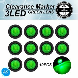 """10 X Mini Side 12V 3/4"""" Round Marker Trailer3 LED Bullet Truck RV Green  Light"""