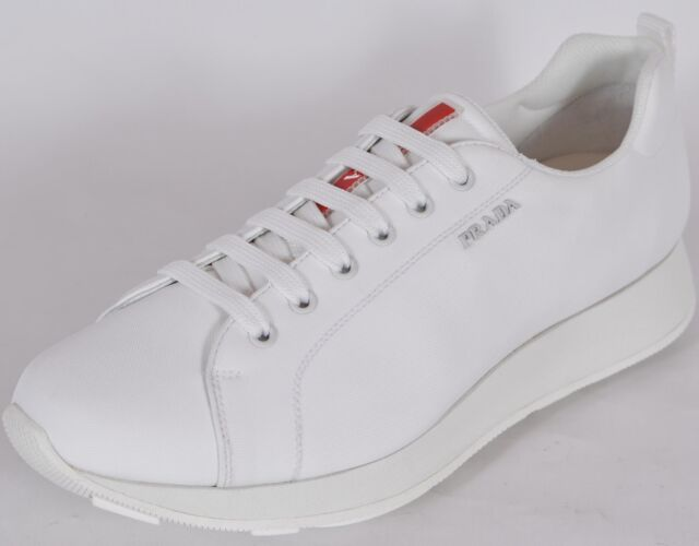 772a87d1ff31 New Prada Men s 43E249 White Nylon Lace Up Low Top Sneakers Shoes 11 IT 12  U.S