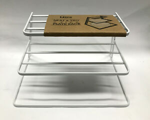 Image is loading New-3-Tier-White-Neat-&-Tidy-Plate- & New 3 Tier White Neat u0026 Tidy Plate Rack Kitchen Plates Organiser ...