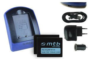 2x Baterìas + USB Cargador NP-W126 para Fuji Fujifilm FinePix HS50EXR / X-A1