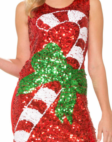 Xs//S Sequin Womens Candy Cane Holiday Dress