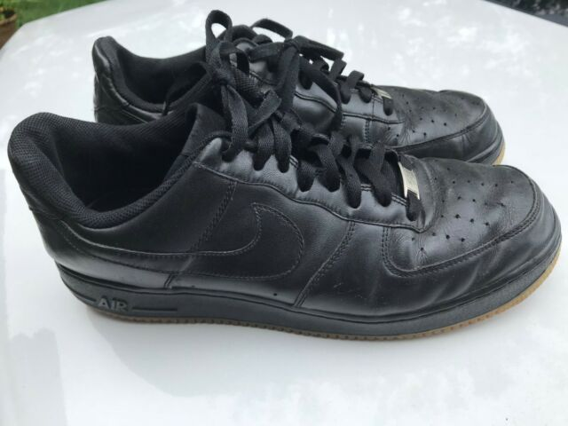 Mens Authentic Nike Air Force 1 Low Basketball Shoes Blackgum Bottom Size 11.5