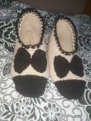 2019 Moda Ladies Hand Knitted Scarpine/pantofole, Taglia 9.-rs,size 9. It-it Mostra Il Titolo Originale