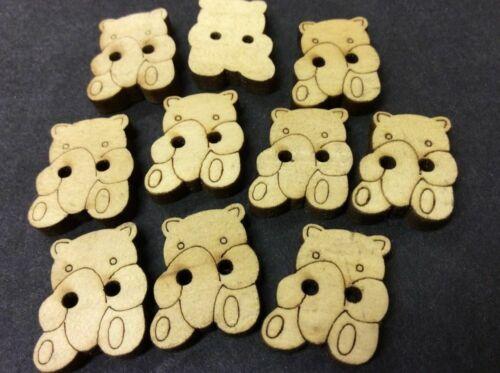 Teddy Bear Wooden Buttons Pk 10  Z04