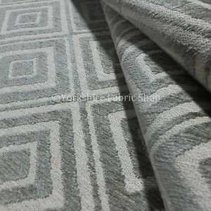 New Geometric Designer Pattern Beige Colour Chenille Upholstery Interior  Fabric