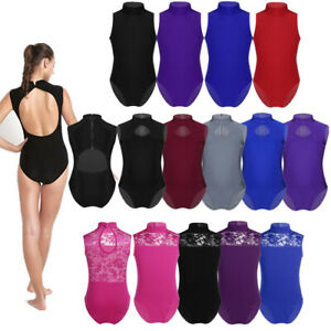 Girls-Kids-Ballet-Gymnastics-Dance-Leotard-Turtleneck-Leotard-Keyhole-Dancewear