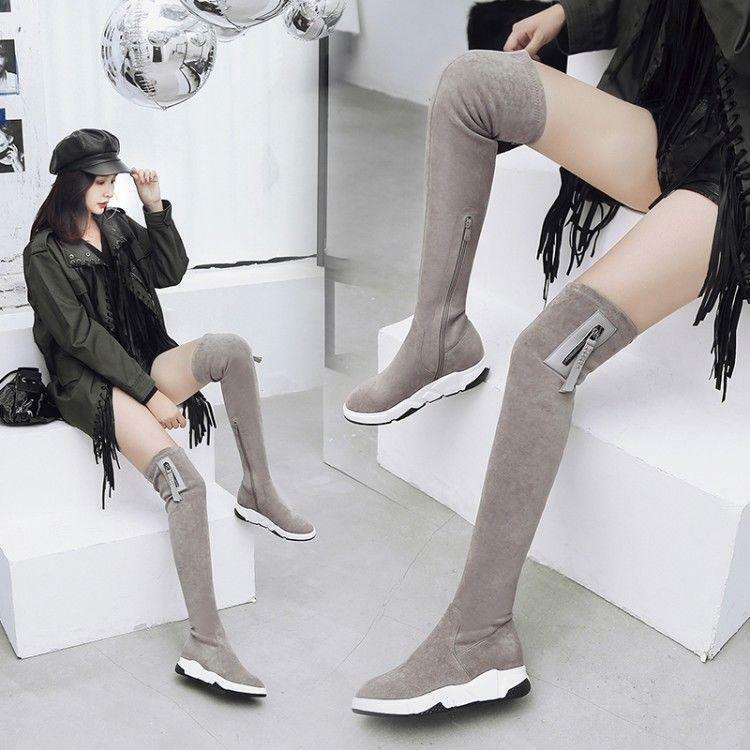 Women Hidden Wedge Pull On Over The Knee Boots Knight Thigh Winter shoes @BT02