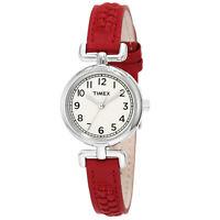 Timex Women's Weekender Analog Quartz Brass Case Red Leather Watch T2N661