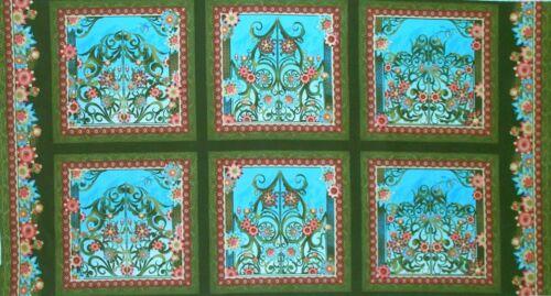 See Description Orange Fabric #2321 Jason Yenter Blue 2//3 Yard Panel Green