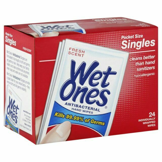 Wet Ones Antibacterial Fresh Scent Hand Wipes -24 Count (Pack of 3)