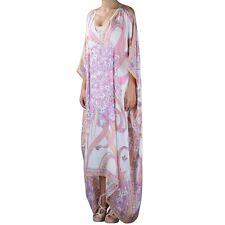 Emilio Pucci Pink White Floral Print Long Silk Kaftan Caftan Dress O/S UK 8-16