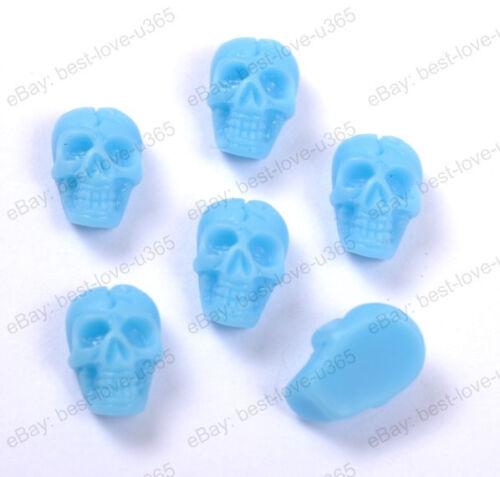 20 piezas moda Resina /& flatback /& tallado cráneo cuentas Fornituras 10x6mm