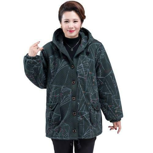 Women's XL-8XL Padded Jacket Winter Thick Warm Loose Print Pocket Hooded Coat L