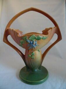 Roseville-Pottery-368-12-034-Brown-Green-Blue-Flower-Columbine-Basket-HTF