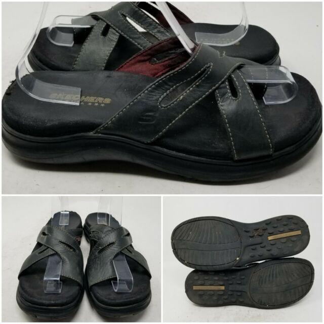 Skechers Black Leather Open Toe Slip On Flip Flop Sandal Slides Women's Size 9