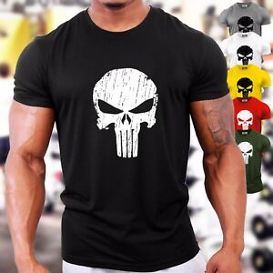 Punisher-Skull-UK-Bodybuilding-T-Shirt-Gym-Workout-Training-Motivation