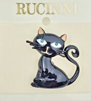 Cool Black Kitty Cat With Peach Ears Pin Broach Kitten - Jewelry By Rucinni