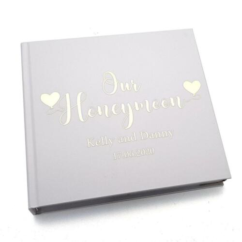 Personalised Honeymoon Álbum De Fotos Regalo con oro script flpv 67