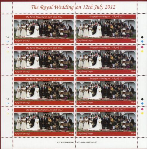 Tonga #1194-95, 1V+S/S X8, Wedding of Crown Prince, SCV $168.00