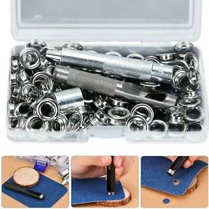 100-Set-Eyelets-Grommets-Buckle-with-Installation-Tools-Leather-Rivet-10mm