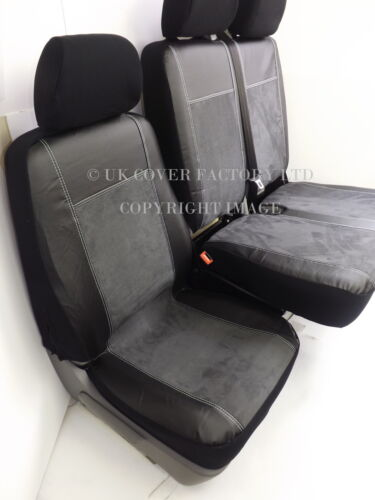 VW CRAFTER VAN SEAT COVERS  CHARCOAL  ALCANTARA WHITE STITCH  P70DGRY