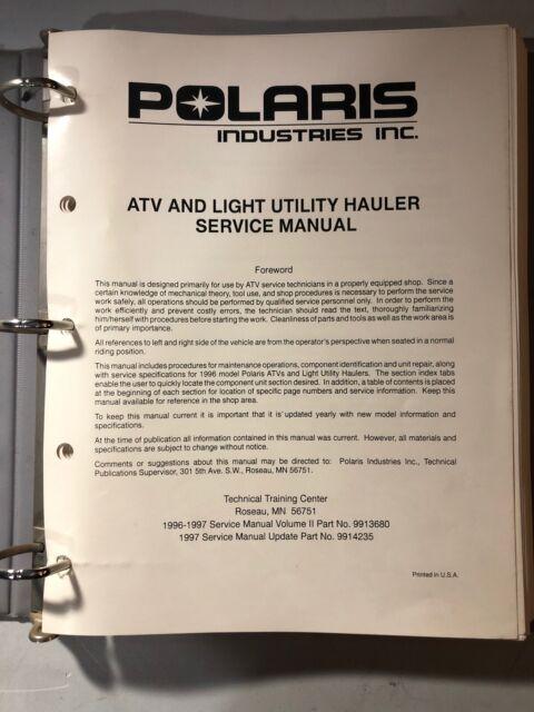 Polaris Atv And Light Hauler Service Manual 1996  97