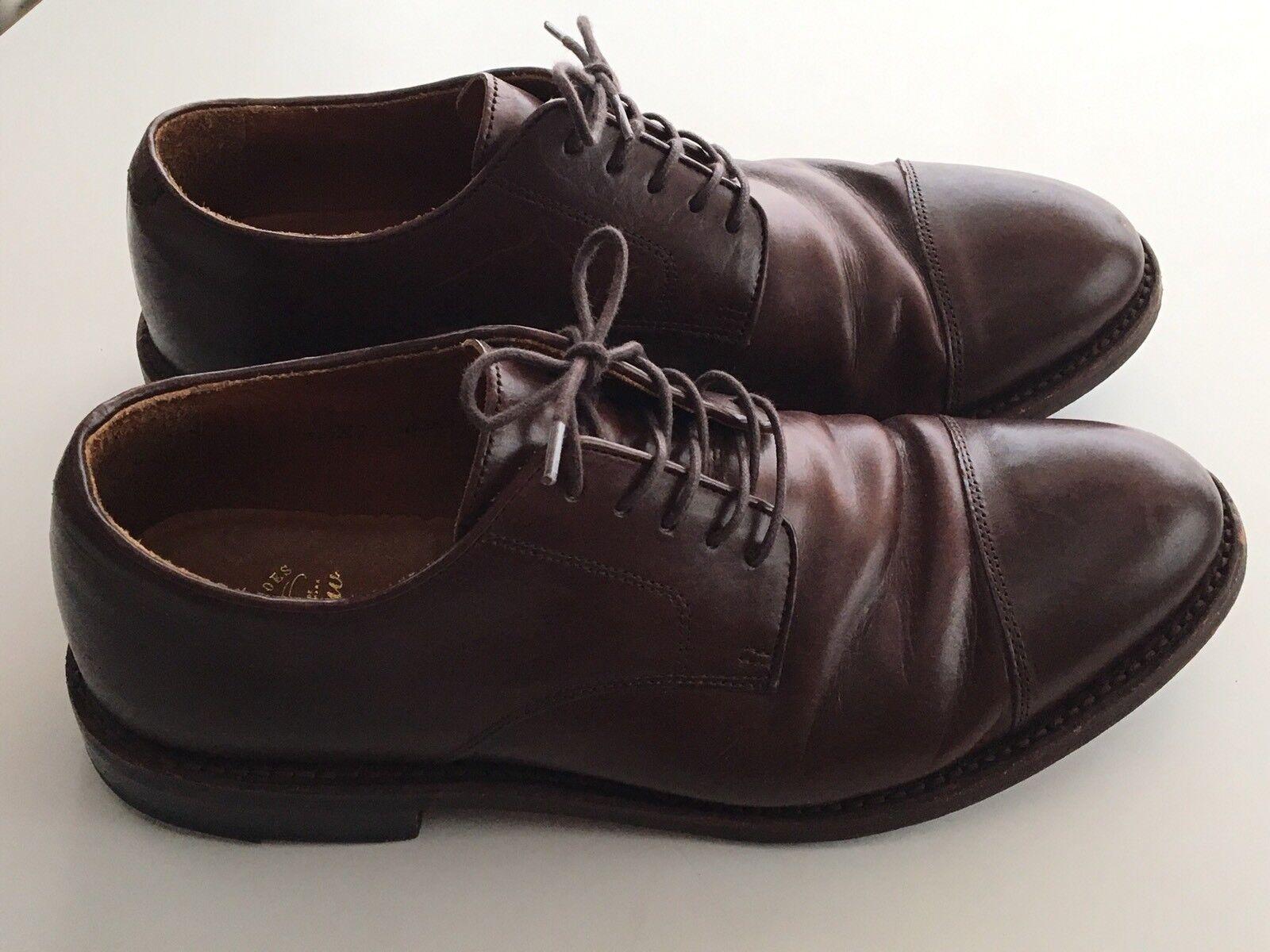 JCREW Ludlow Cap Toe Bluchers Leather Shoes  360 8.5 Cigar Brown G1987