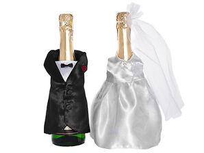 Flaschendeko Brautpaar 2-teilig -Hochzeit, Flaschen, Deko, Tischdeko