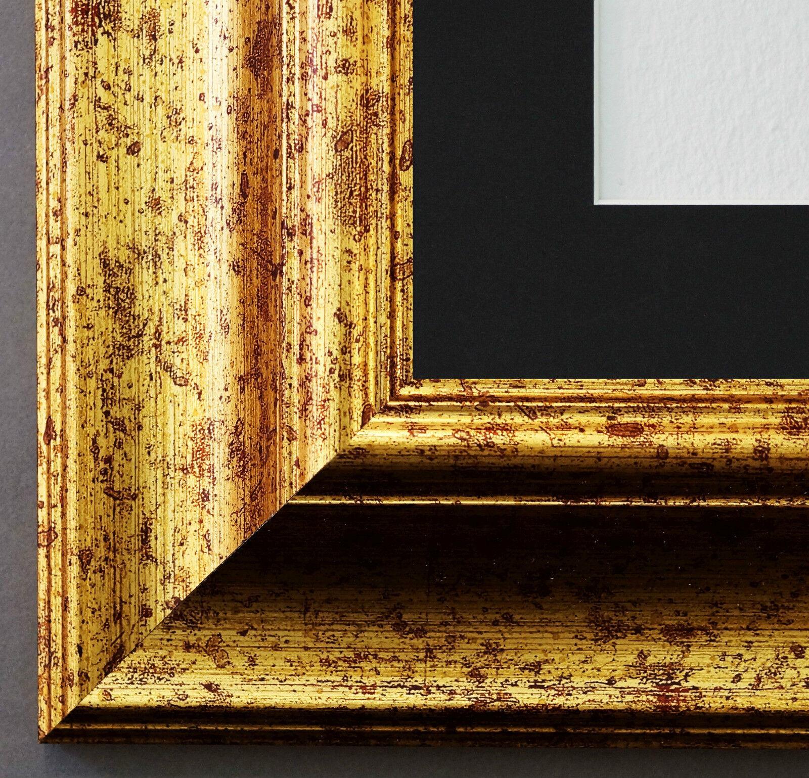 Bilderrahmen Acta Gold gemasert mit Passepartout in Schwarz 6,7 NEU alle Größen