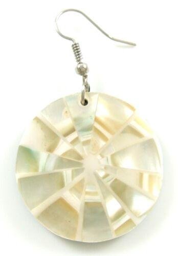 Natural spirale Nacre Coquillage Dangle Boucles d/'oreilles pendantes fait main Bijoux CA117