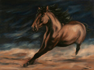 ORIGINAL-Signed-Handmade-Oil-painting-on-canvas-23x17-039-039-Mustang-horse