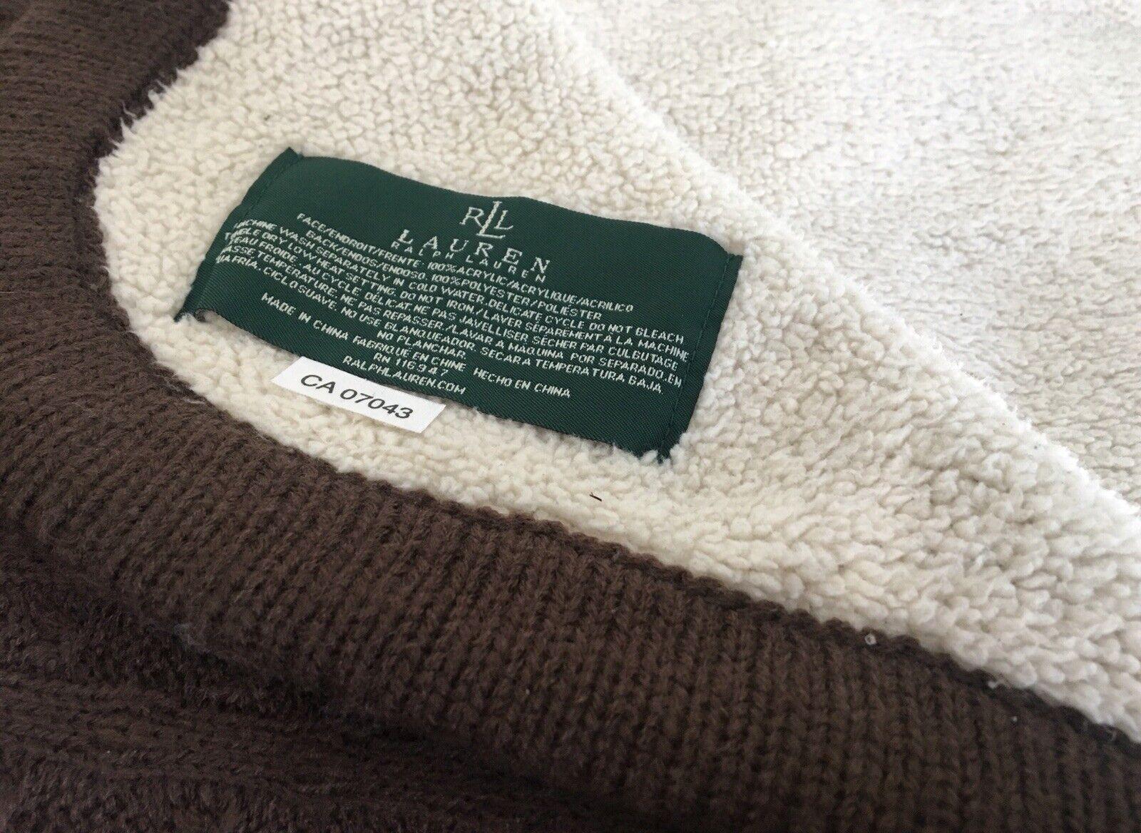 RALPH LAUREN Sherpa Knit Throw Brown