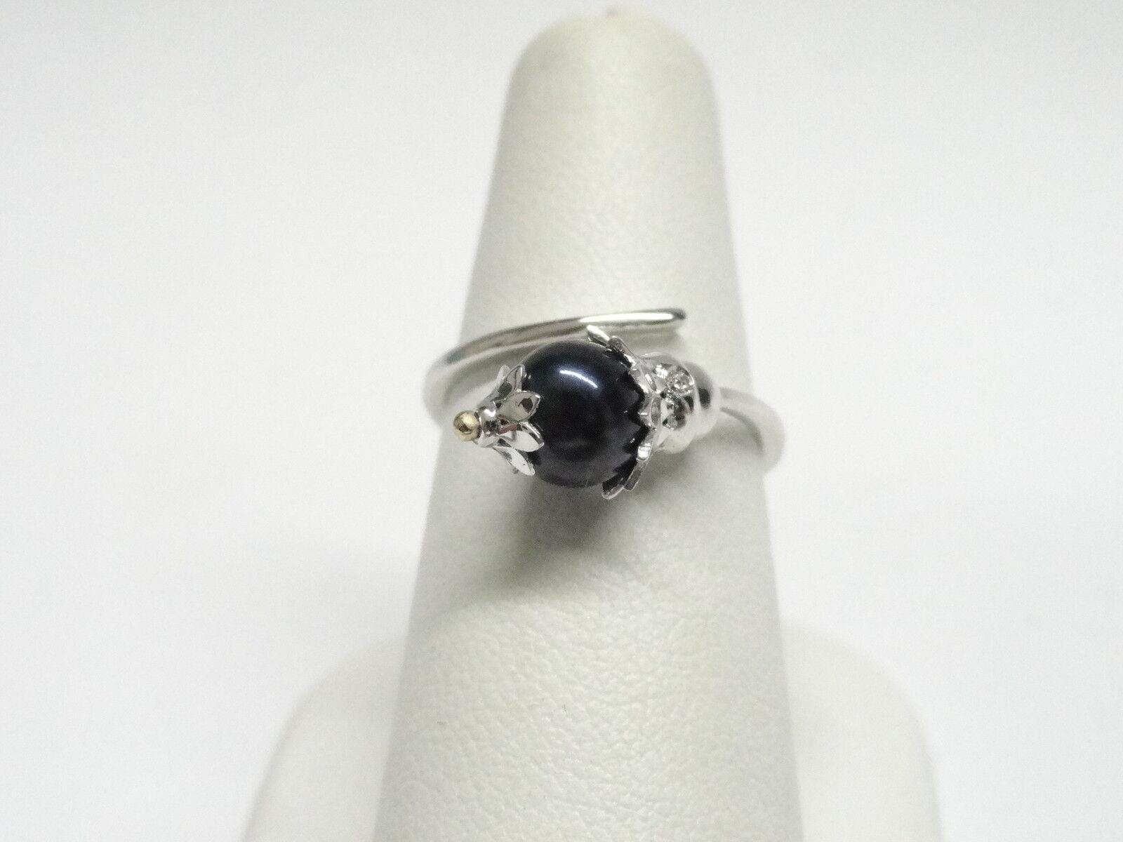 Anello in gold bianco 18 Kt 750 con perla nera diamanti 0,03 ct Nuova collezio...