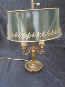 Lampe Bouillotte Bronze Col Cygne Abat Jour Tole Peinte Style Empire