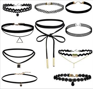 10PCS//SET Women Chunky Collar Statement Choker Necklace Pendant Chain Vintage