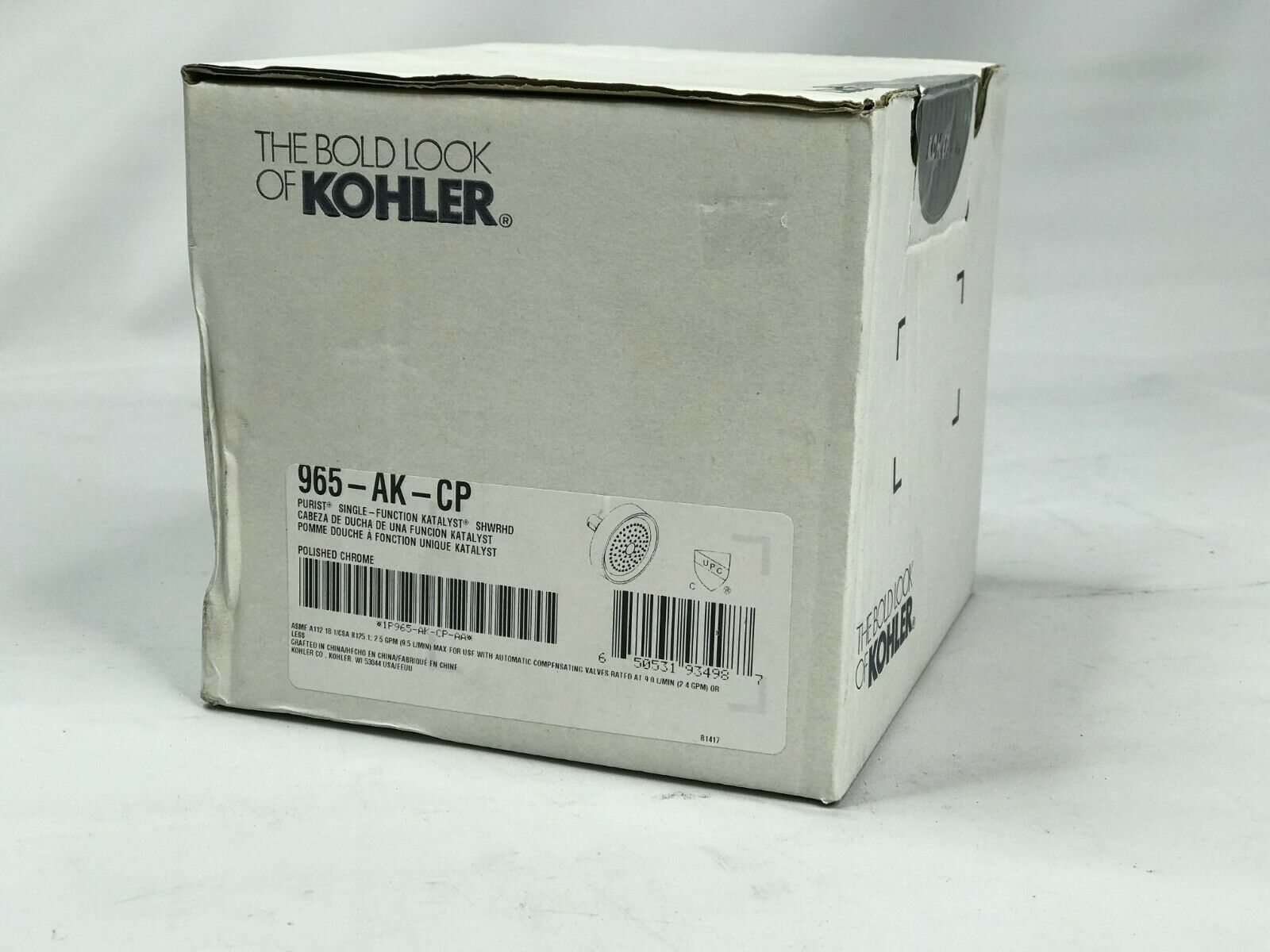 New Kohler 965 Ak Cp Purist Single Function Katalyst Showerhead Polished Chrome