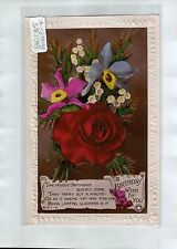 B0135cgt Greetings Birthday Wish for You Rose vintage postcard