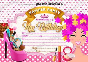Detalles De Fiesta Spa Niñas Cumpleaños Fiesta Invitaciones Tarjetas De X 8 Mimar Makeover Fiesta De Pijamas Ver Título Original