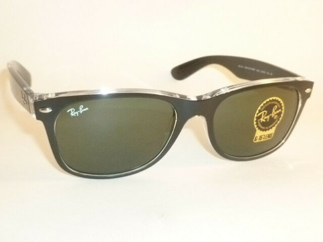 8bb43a2f36c21 RAY BAN New WAYFARER Black On Transparent RB 2132 6052 G-15 Green Lenses  52mm