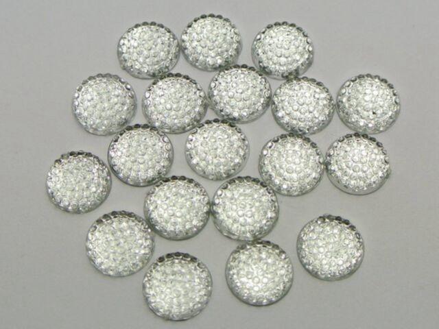 200 Clear Flatback Acrylic Dotted Round Rhinestone Cabochon Dome 10mm