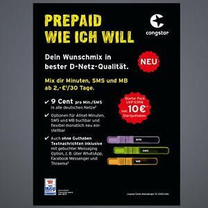 Congstar Prepaid Handy Sim Karte 10 Guthaben T Mobile D1 Netz T